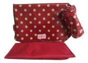 Cath Kidston nappy changing bag oilcloth button spot berry red