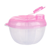 Samber Three-layer Compartments Bowl Rice Milk Powder Box Baby Milk Storage Container Box Portable Baby Snack Cup Leak-proof Food Dispenser/B
