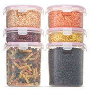 Komax Biokips Tall Large Dry Food Storage Round Containers (set of 6) - Airtight, Leakproof With Locking Lids - BPA Free Plastic - Microwave, Freezer and Dishwasher Safe