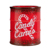 Vintage Style Christmas Canister with Peppermint Red and White Striped Candy Canes, 13cm