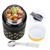 Uarter Stainless Steel Food Jar Multi-functional Lunch Thermos Portable Vacuum Insulated Food Container with Folding Spoon, Suitable for School, Work and Picnics, 550ml Capacity