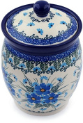 Polish Pottery Jar with Lid 15cm Forget Me Not made by Ceramika Artystyczna