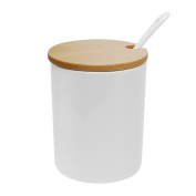 Sugar Bowl, 77L Ceramic Sugar Bowl with Sugar Spoon and Bamboo Lid for Home and Kitchen, Elegant Design, White, 320 ML