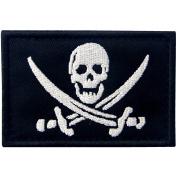 Pirate Flag Military Morale Fastener Hook & Loop Patch - White & Black