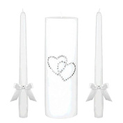 Classic Wedding Ceremony Accessories Unity Candle Set with Gem Hearts Party Supply , White, Wax, Pack of 3