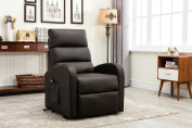 Divano Roma Furniture - Classic Plush Bonded Leather Power Lift Recliner Living Room Chair