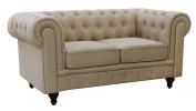 US Pride Furniture S5071-L Linen Fabric Chesterfield Sofa Set, Beige