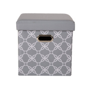 Glitzhome Foldable Oxford Cube Storage Ottoman With Padded Seat Grey