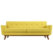 Modway Engage Mid-Century Modern Upholstered Fabric Sofa In Sunny