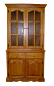 Sunset Trading Keepsake Buffet and Lighted Hutch, Light Oak Finish