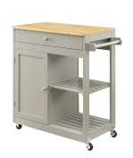 Oliver and Smith - Nashville Collection - Mobile Kitchen Island Cart on Wheels - Wooden Grey - Natural Oak Butcher Block - 80cm W x 43cm L x 90cm H