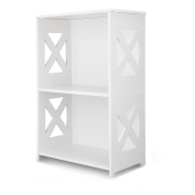 Finether 2-Tier Modular Side Cross Cut-Out Wood Plastic Composite Shelf Unit Bookcase Storage Organiser Display, SGS Certified, White