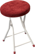 AZUMAYA Red Folding Stool Chair 49cm Height, Steel Frame and Textile Fabric Seat Top RED PC-31RD