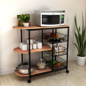 SanLem Kitchen Cart (80cm x 38cm x 33.13cm ) Wood/Steel - Black