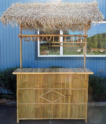 Bamboo Tiki Bar w/Palm Thatch Roof 60cm W x 190cm Lx 230cm H