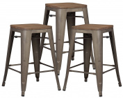 Poly and Bark Trattoria 60cm Counter Height Stool with Elmwood Seat in Bronze