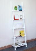 go2buy Modern White Wood 5 Tier Leaning Ladder Shelf Bookcase Bookshelf 180cm Book DVD CD Display Storage Shelves Unit