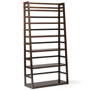 Simpli Home Acadian Wide Ladder Shelf Bookcase, Tobacco Brown