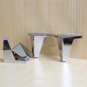 4 pcs furniture cabinet metal legs corner feet stainless steel chrome polish