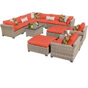 TK Classics Monterey 13 Piece Outdoor Wicker Patio Furniture Set, Tangerine