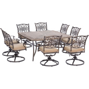Hanover Traditions 9 Piece Square Dining Set with Swivel Dining Chairs and a Large Dining Table, 150cm x 150cm