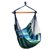 Number-One Hanging Hammock Chair Swing, Hanging Rope Swing Chair Porch Swing Seat with 2 Seat Cushions for Indoor and Outdoor Use, Max Weight