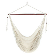 Arad Large White Hammock Chair - Hanging Swing Seat Cotton Rope Construction - Comfortable, Lightweight, Includes Wood Bar - Perfect for Yard, Patio or Beach