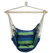 Arad Blue & Green Hanging Rope Hammock Chair Swing Seat for Any Indoor or Outdoor Spaces- Max. 120kg. -2 Seat Cushions Included
