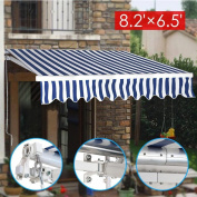 go2buy 8.2'x6.5' Retractable Manual Patio Canopy Deck Awning Sunshade Shelter Top Quality Window/Door Canopy Outdoor Blue