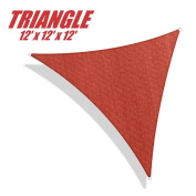 ColourTree 3.7m x 3.7m x 3.7m Sun Shade Sail Canopy Triangle Merlot Red - Commercial Standard Heavy Duty - 160 GSM - 4 Years Warranty