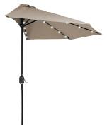 Trademark Innovations 2.7m Patio LED Half Umbrella LED - Solar Powered by Home & Comfort