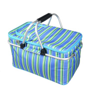 DKISEE Large Size Insulated Picnic Basket 30L folding Cooler Bag Zip Closure Basket with Carrying Handles