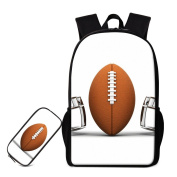 Generic Football Print Kids Sports 2 Pcs Backpack Set Large School Bags with Pencil Case Bag Travel Daypack