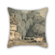 Oil Painting Francis Wheatley - Country Scene- Figures By A Cottage Door And Cattle In A Stream Cushion Cases 18 X 18 Inches / 45 By 45 Cm For Shop Son Home Theatre Teens Girls Coffee House With D