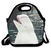 JDE D XKJA Cute Beluga Whale Printed Portable Lunch Bag Carry Case Tote With Zipper Strap Box Cooler Container Bags Picnic Outdoor Travel Fashionable Handbag Pouch For Women Men Kids Girls