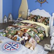 RuiHome 4-Piece Queen Size Duvet Cover Sets Soft Bedding Set for Bedroom Dorm Room, Dog Family Pattern Design