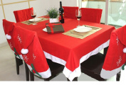 Christmas Tablecloth and Santa Hat Chair Covers for Kitchen Dinner Room, Set of 6 Pcs Santa Clause Red Hat Cap Chair Back Slipcovers Festive Holiday Figurines Accessory Christmas Decorations Gift