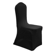 GFCC 8pcs Spandex Stretch Dining Slipcovers for Wedding Party Banquet Christmas,Black Spandex Chair Covers