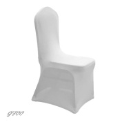 GFCC 8pcs Spandex Stretch Dining Slipcovers for Wedding Party Banquet Christmas,White Spandex Chair Covers