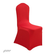 GFCC 8pcs Spandex Stretch Dining Slipcovers for Wedding Party Banquet Christmas,Bright Red Spandex Chair Covers