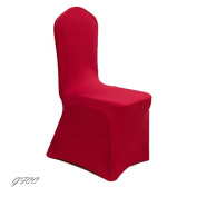 GFCC 8pcs Spandex Stretch Dining Slipcovers for Wedding Party Banquet Christmas,Red Spandex Chair Covers