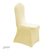 GFCC 8pcs Spandex Stretch Dining Slipcovers for Wedding Party Banquet Christmas,Ivory Spandex Chair Covers