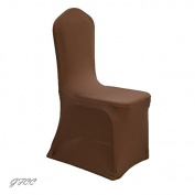 GFCC 8pcs Spandex Stretch Dining Slipcovers for Wedding Party Banquet Christmas,Chocolate Spandex Chair Covers