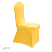 GFCC 8pcs Spandex Stretch Dining Slipcovers for Wedding Party Banquet Christmas,Yellow Spandex Chair Covers