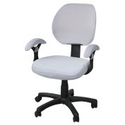 Freahap Computer Desk Chair Cover Stretch Spandex Washable Removable for Office Home Swivel Chair Protector Silver Grey