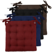 bed bath n more Multicolor Cotton 41cm x 41cm Tufted Solid Chair Pad Pair With Tiebacks (Set of Two) Brown