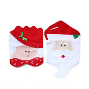 BESTOYARD Mr Mrs Santa Claus Chair Covers for Kitchen Dining Christmas Party Decoration 2pcs