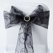 Tableclothsfactory 5pc x Black Leaf-Motif Organza Embroidered Chair Sash