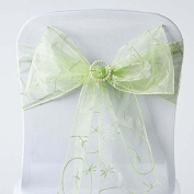 Tableclothsfactory 5pc x Apple Green Leaf-Motif Organza Embroidered Chair Sash
