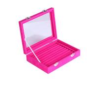 Meshela Velvet Glass Ring Jewellery Display Storage Box Tray Case Holder Earring Organiser Stand